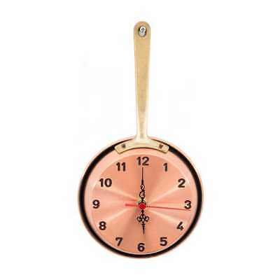 Wall clock copper polished pan pot diam.14 cm