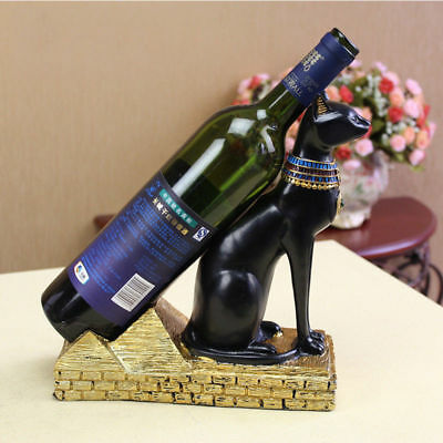 Egyptian Mythology Anubis Cat Wine Bottle Holder Collectible Ancient Home Decor