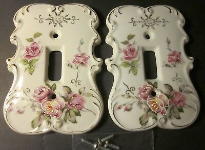 Vtg PAIR Porcelain Floral Design Single Light Switch Plate Covers, Nice