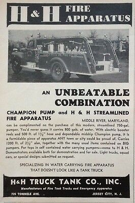 1950 Ad(H1)~H&h Truck Tank Co. Jersey City, Nj. Fire Apparatus Pumper