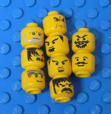 LEGO Minifig, Assorted Heads Yellow Castle Ninja Moustache x9PC