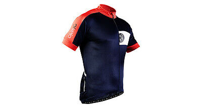 Rivelo Mens Hartside Short Sleeve Cycling Jersey Colour: Navy/Red Size: Small
