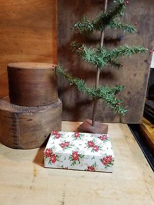 Adorable Small Vintage Antique Christmas Box Old Paper Poinsettias Holly Ribbon