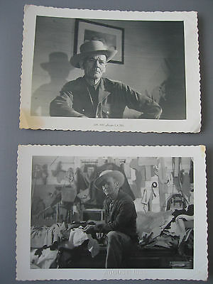 Lot of 2 Vintage Photos WEATHERED TEXAN COWBOY LEATHER CRAFTSMAN  c1950s