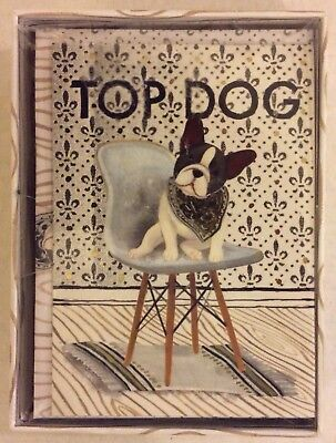TOP DOG Boston Terrier, 12 Blank Note Cards with Envelopes by Molly & Rex NIB