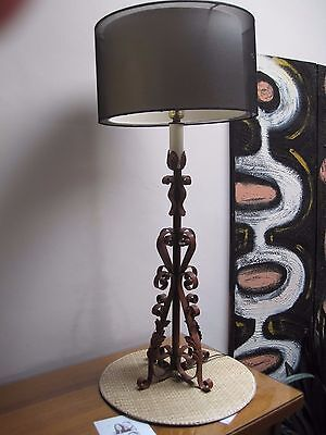 Spanish Revival calif revival Wrought Iron TABLE Lamp Gothic in So Cal prop