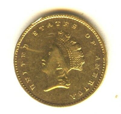 1856 S $1 Gold Type 2 XF In Grade Cleaned San Francisco Mint Issue