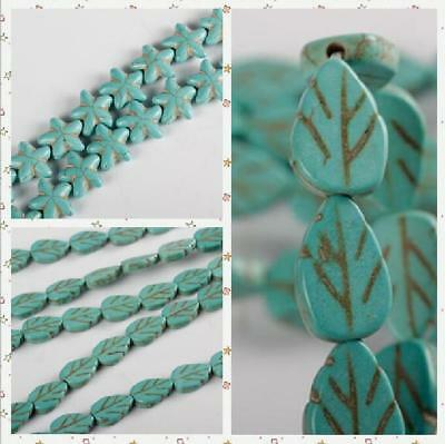 Leaf Five-pointed star Starfish Natural Turquoise Beads For Bracelet Necklace