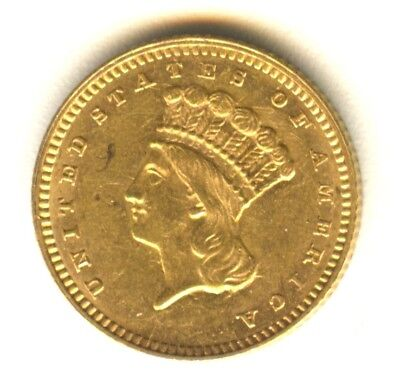 1861 $1 Gold Type 3 UNC In Grade Lustrous. No Cleaning