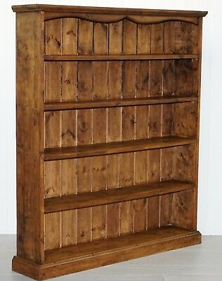 Solid Pine Vintage Large Wide Library Bookcase Farmhouse Country Style & Feel