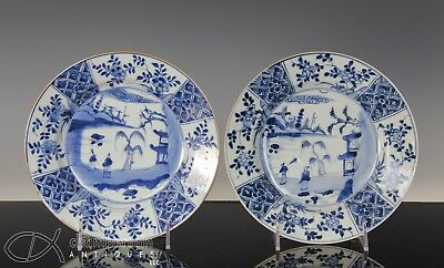 Nice Pair Of Antique Chinese Blue + White Porcelain Plates Dishes - 1700's