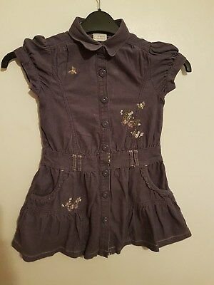 Ref 46 - NEXT - Girls Toddlers Childrens Purple Cap Sleeved Dress Age 5 Years