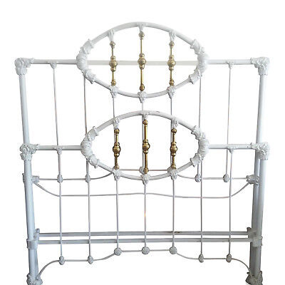 Antique Cast Iron Brass Full Bed Head & Foot Boards With Original Side Rails