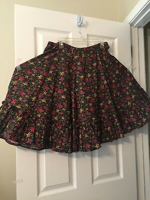 Multi Color Star Design Square Dance Skirt With Bottom Ruffle