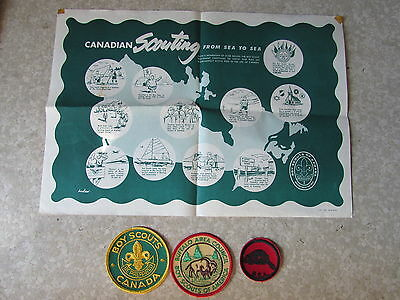 Original Boy Scouts of America & Canada Patches & 1962 Canadian Place Mat Paper