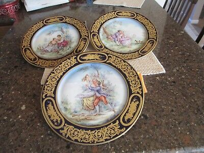Antique 1850-1900 Century French Porcelain Plates