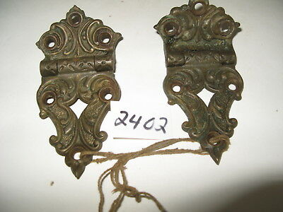Pair Antique Offset Brass Hinges 4 1/4 inches long, see desc for more size infom