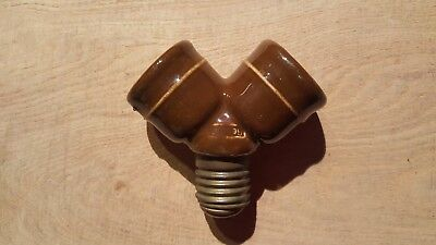 Vintage Antique German Porcelain Light Lamp Socket Splitter Cluster Double Bulb