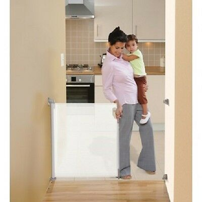 """Set of 2 New ER-L820 DreamBaby RETRACTABLE SAFETY GATE-FITS OPENING TO 55"""" White"""