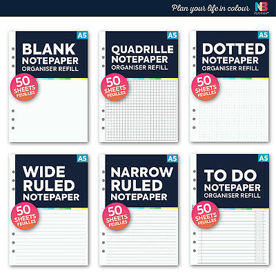 NBplanner® Insert Refill Ruled / Blank / Dotted FILOFAX A5 organiser Compatible