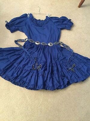Royal Blue Square Dance Skirt And  Blouse, Decorative Belt, And Men's Tie