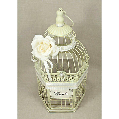 WEDDING BIRDCAGE CARD Holder Antique White, Ivory, Pearl & Silver ...
