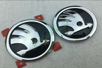 2x SKODA 90mm + 80mm Front and Rear EMBLEM for OCTAVIA FABIA ROOMSTER YETI