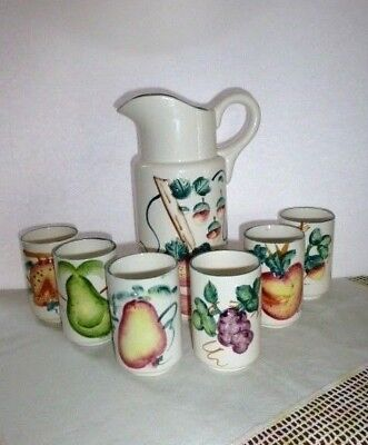 Vintage 7- Piece Hand Painted Fruit Themed Ceramic Juice Set, Made In Japan, A+