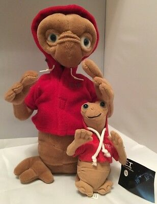 Large 30cm Vintage ET Extra Terrestrial Soft Toy Plush & Free Small Baby ET!!