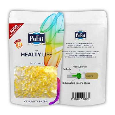 Pufai Disposable Cigarette Filters 8 mm Regular Size Bulk Economy Pack 1000 Pcs