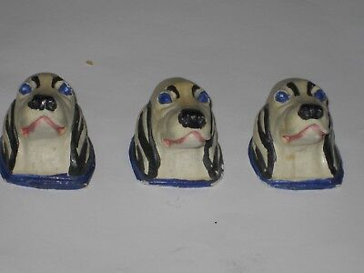 Vintage Chalk Ware / Plaster Wall Hanging Three Dogs Cute!