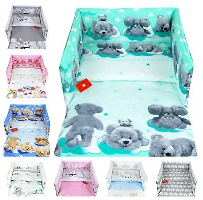 3 PIECES NURSERY-BEDDING SET- PILLOW CASE DUVET COVER PADDED BUMPER to fit COT