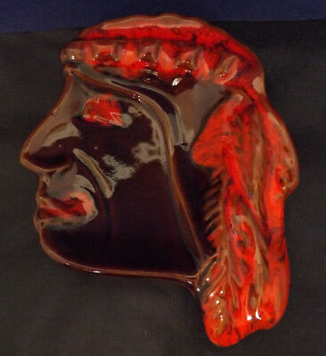 Vintage Canadian McMaster Pottery Indian Head Ashtray. Fabulous Condition.