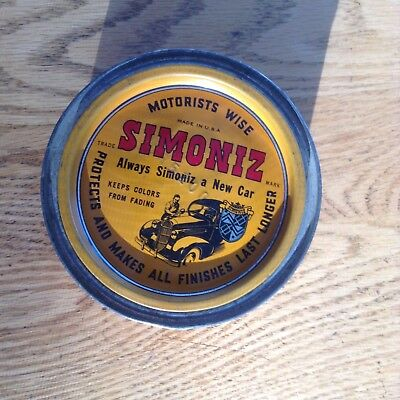 Antique Collectable Simoniz Motorists Wise Auto Wax Can Tin