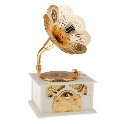 Antique Look Wind Up Gramophone Melody Play Music Box Clockwork Gift White