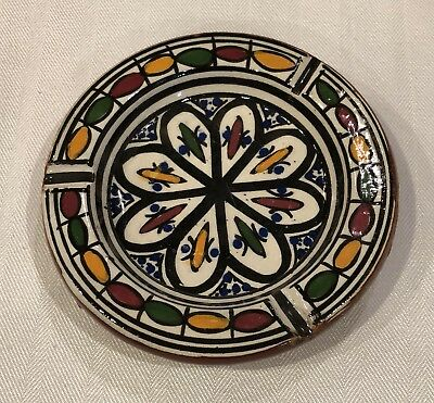 Vintage Moroccan Hand Painted Footed Pottery Ashtray Bowl Signed Safi