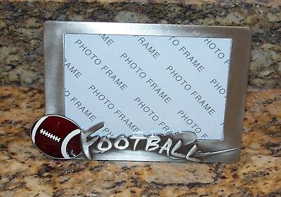 Metal Pewter 3D Football Picture Photo Frame Brushed Nickel Silver Finish Modern