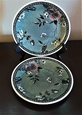 Nikko Country Side Mademoiselle Salad Plates x2 White Gray Salmon Flower Leaves