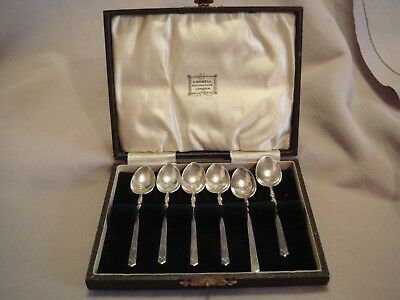 Boxed Set London Sterling  Silver 6 Demitasse Spoons G L Connell Ltd 1915-32