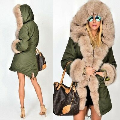 Women Ladies Winter Long Warm Thick Parka Faux Fur Jacket Hooded Coat