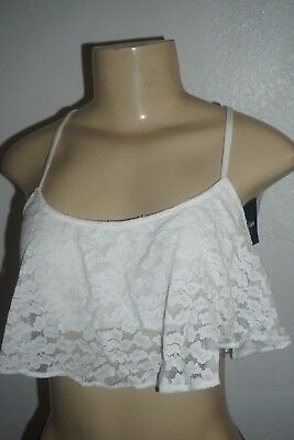 9d7daaca8c Nwt Hollister Womens Gilly Hicks White Lace Ruffle Crop Top Bralette Size M