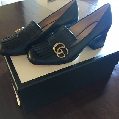Never Worn New Season Gucci Gg Marmont Black Leather Mid Heel Loafer Size 39