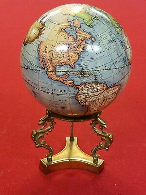 Vintage French World Globe Braas Pedestal Stand With Sea Serpents Seahorses