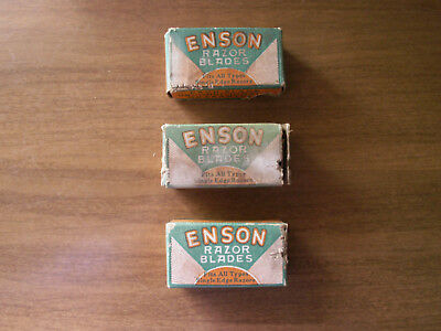 Vintage Enson Safety Razor Blades Fuller Blade Company 3 Boxes New York N.Y.