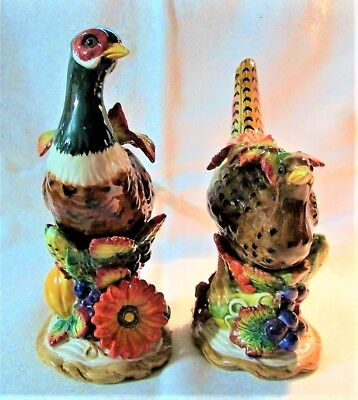 Vintage Rare Retired Fitz & Floyd Autumn Bounty Pair Of Pheasant Candle Holders