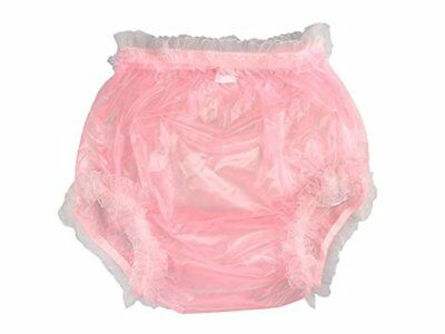 Incontinence Pull-on Plastic Pants Transparent Pink With White Lace (X-large)