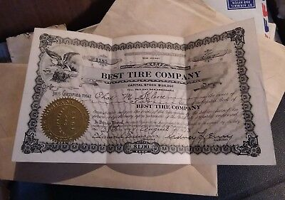 1913 Stock Share Best Tire Co Of New Jersey In Crisp Condition