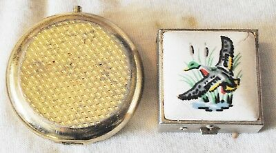 Lot of 2 Small Metal w/ Porcelain/Etched Top or Pill Boxes, FREE SHIPPING