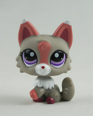 Littlest Pet Shop LPS 555 Toys  Pink Ears Purple Eyes Gray Pink & White Wolf