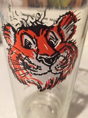 Vintage 60s Exxon ESSO Glasses Put a Tiger In Your Tank 8 Languages brown face